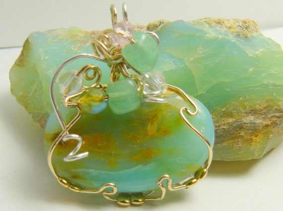 PERUVIAN BLUE OPAL Pendant with a beautiful dendritic scenic picture -  Wire Wrapped Cabochon in 14kgf wire