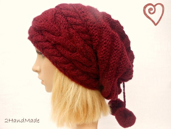 Slouchy Beanie Slouch Hat Oversized Baggy Cabled Hat Neck Warmer Womens Fall Winter Accessory Hand Made Knit Rich Burgundy Pom Pom