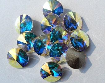 12 Aurore Boreale 39ss Swarovski Rivoli Rhinestones-Loose Rhinestones-Bulk Rhinestones-Wholesale Rhinestones-Loose Crystals