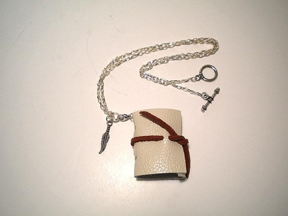Journal Mini Necklace with Feather Charm- Handmade-Leather-Discounted- Reg.- 10.95