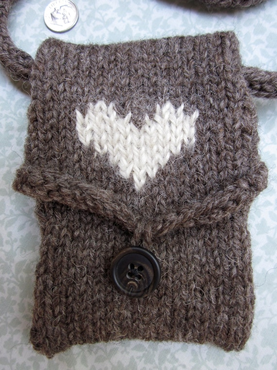 Wool Intarsia Heart Pouch, Purse, Bag, Iphone Pouch