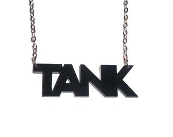 Black Tank Necklace, Laser Cut Pendant, MMORPG