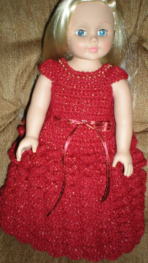 AG Doll Evening, Prom Or Party Dress Crochet Pattern for
