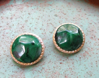 Forest Green Earrings Clip On Vintage Stamped Jewelery Round Emerald Faux Gift for Her