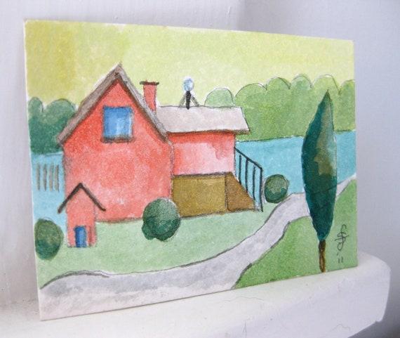 Aceo Watercolor House Original Handpainted Art OOAK ATC