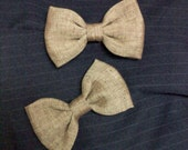 little boys bowtie,  Tan Brown cotton linen