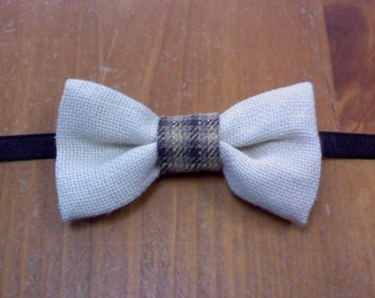 little boys beige with plaid brown center bow tie