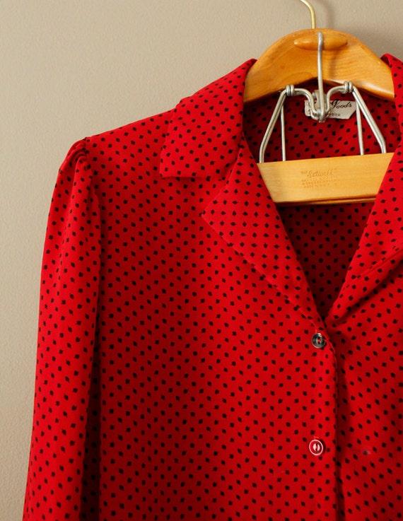 1980s Vintage Red Black Dot Print Blouse Size XL