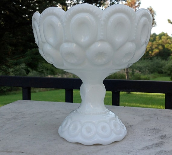 Vintage Milk Glass Moon and Stars Pattern Pedestal Dish
