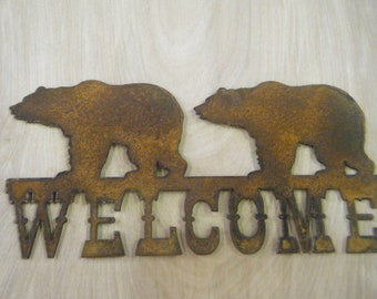 FREE SHIPPING Rusted Rustic Metal Welcome Bears Sign