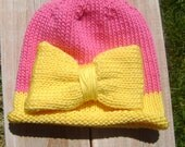 Knitted Baby Hat.  Bright Pink and Yellow Bow Hat.  Ready to Ship