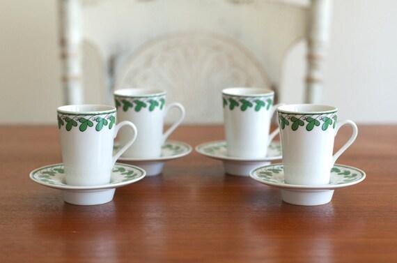Vintage Fitz & Floyd Shamrocks Espresso Set 4 Cups / Saucers - Unused