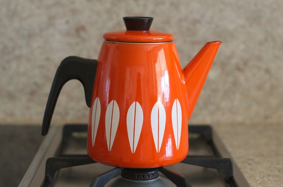 Vintage Cathrineholm Enamelware Lotus Design Coffee / Tea Pot - Excellent condition