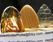 Guitar pick Box set of 3 different picks, set includes a Glass guitar pick, Wood guitar pick, and Stainless steal guitar pick, red heart