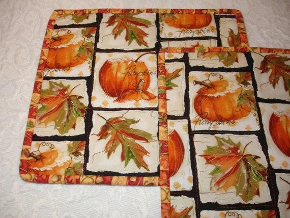 Fall Autumn Pumpkin Snack Mat Mug Rug Mini Quilts - Set of 2 - Orange, White, Green - Pumpkin, Leaves