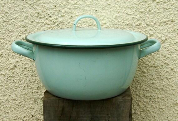 Vintage French enamelware casserole dish