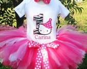 Hello Kitty Zebra Birthday Number is Super Sweet in White with Zebra and Hot Pink Dots