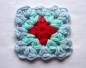 Puff granny square Crochet Pattern. Afghan block