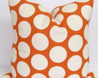 ORANGE PILLOW.20x20 inch.Polka Dot Pillow Cover..Decorative Pillow Cover.Housewares.Home Decor.Burnt Orange Pillow Cover.Orange.Large Dot.Cm