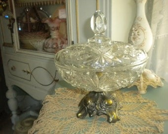 Vintage Metal and Glass Covered Dish, Hollywood Regency, French, French Country, Shabby Chic