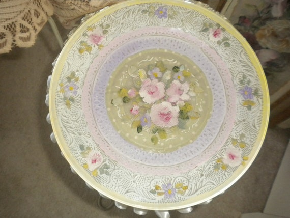 Gorgeous Hand Painted Plate,Shabby chic,French,Eclectic,Cottage,Cottage chic,French Country,Home decor,Collectible