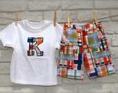 shorts for boys with coordinating initial applique tee sizes 12-18mo 18-24mo 2 3 4 5 6  in michael miller coastal plaid