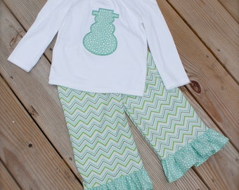 WINTER RUFFLE PANT set- long sleeve snowman applique top with coordinating chevron ruffle pant 6-12mo,12-18mo,18-24mo,2,3,4,5,6