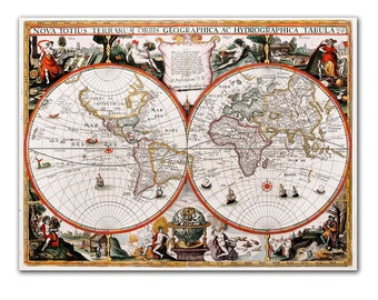 "13x17"" Antique World Map printed on parchment paper, Nova Totius Terrarum Orbis Geographica Ac Hydrographica Tabula, 1625 , Vintage map"