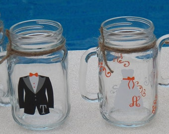 4 Mason Jars Personalized Bridesmaid and Groomsman Glasses.  Mason Jar with dress and tux.