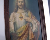 Sacred Heart of Jesus 1950s Print in A Vintage Shabby Chic Wooden Frame