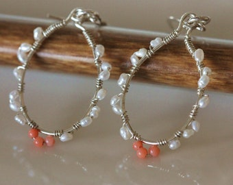pearl and coral sterling silver hoop earrings, wire wrapped freshwater pearl dangle earrings, handmade jewelry by girlthree