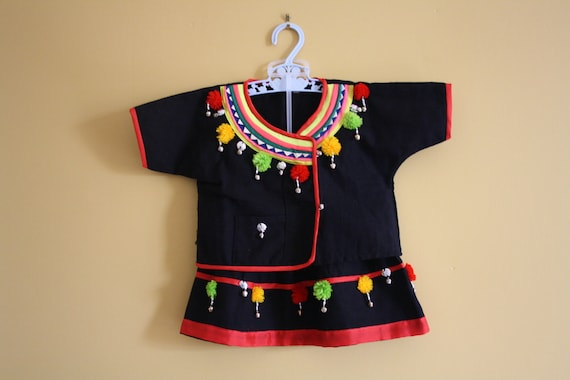 Reserved    Vintage Jingle Dress / shirt and skirt set / Baby girl 6 to 12 months