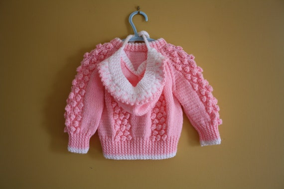 Vintage sweater and hat set / bubblegum pink cardigan sweater / baby girl 6 to 12 months