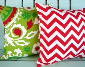"""Sale Set of 2 18"""" X 18"""" red,white,chartreuse,green Suzani print-Chevron- Christmas-  decorative pillow cover-gifts under 40-throw pillow"""