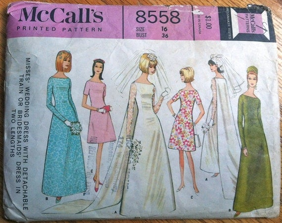 """1960's McCall's Wedding Dress with Train Pattern - Bust 36"""" - no. 8558"""