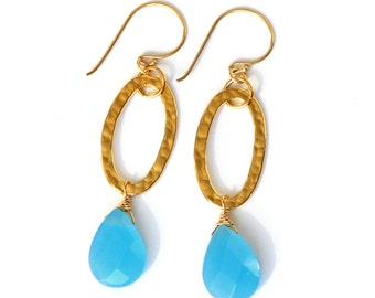Blue Chalcedony Earrings - Hammered Gold Links, Ocean Blue Gemstone Briolettes, Statement Earrings