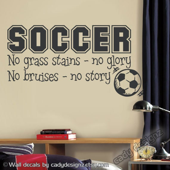 Soccer sports vinyl wall decal children decor no grass for Sports decals for kids rooms