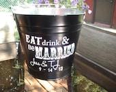 Custom Galvanized Backyard Wedding Bucket
