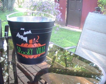 Galvanized Backyard Halloween Candy Bucket