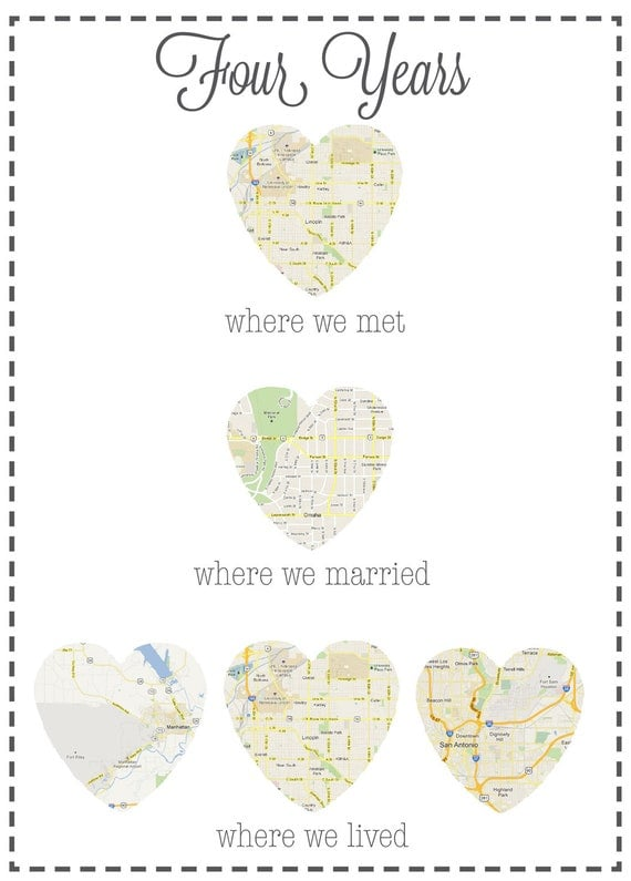 PRINTED Anniversary Gift: Map of Places You Met, Married and Lived