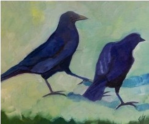 Two Crows Original Painting Oil On Board