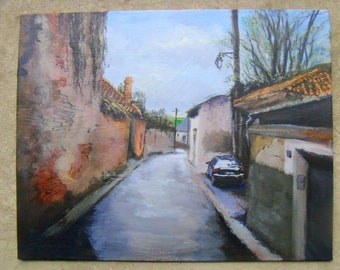 French Street Scene: Rue Lavoisier - Original Acrylic Painting by Jeddin A White
