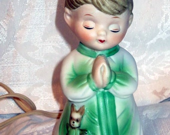 Vintage  Nursery Night Light Figure  Praying Boy