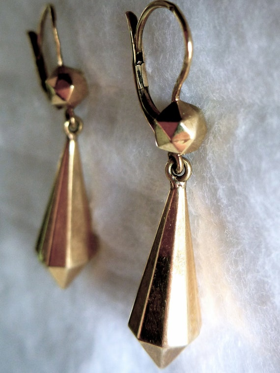 SALE Antique French Earrings, in 18K Gold, Hallmarked