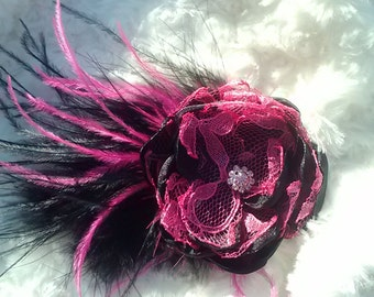Hot pink lace and black satin feathered flower, hot pink and black wedding accessory/photography prop