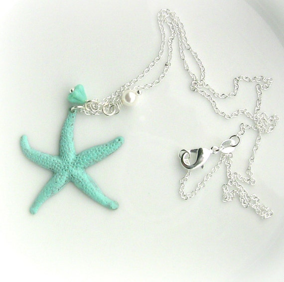 starfish necklace patina jewelry turquoise gift by lefrenchgem