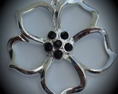 Flower Silver Plated Pendant With Black Crystals