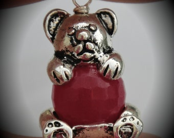 Hand Wire Wrapped Teddy Bear Dangle Charms on Silver Plated Ball End Headpin With Genuine Faceted Pink Jade