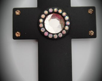 Large Black Enamel Cross Pendant With Crystals