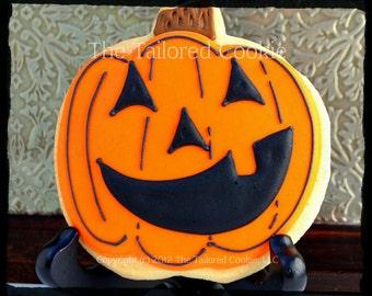 Decorated Pumpkin Jack O'Lantern Shortbread Sugar Cookie Treat Favor Cookies, Orange, Black, by The Tailored Cookie